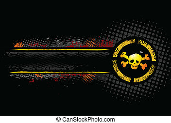 Yellow Skull grunge background