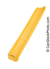 a yellow childs slide on a white background