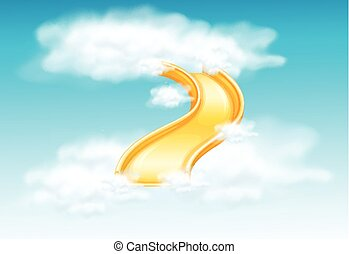 Yellow slide in the fluffy clouds illustration