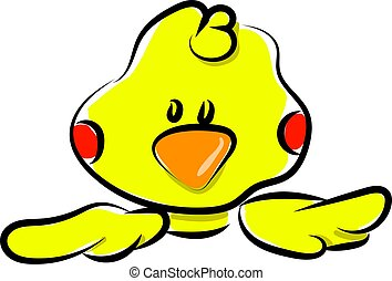 Yellow small duck, illustration, vector on white background.