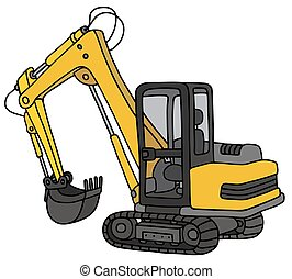 Yellow small excavator - Hand drawing of a funny yellow ...