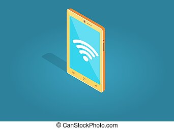 Yellow Smart Phone Wi-fi Connection Flat Style