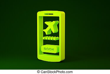 Yellow Smartphone with electronic boarding pass airline ticket icon isolated on green background. Passenger plane mobile ticket for web and app. Minimalism concept. 3d illustration 3D render