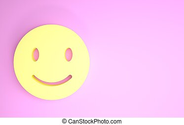 Yellow Smile face icon isolated on pink background. Smiling emoticon. Happy smiley chat symbol. Minimalism concept. 3d illustration 3D render