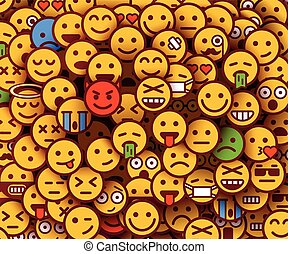 Yellow smiles background. Emoji texture.