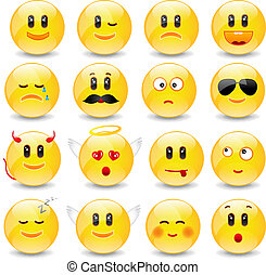 Yellow Smiley Balls With Positive And Negative Emotions With...