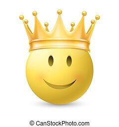 Yellow smiley face - Gold crown on a yellow smiley face,...