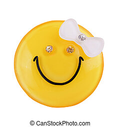 yellow smiley girl - yellow smiley girl with a bow and...