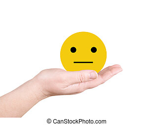 Yellow smiley on the palm
