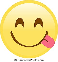 Yellow smiley, tasting food face flat icon with tongue out -...