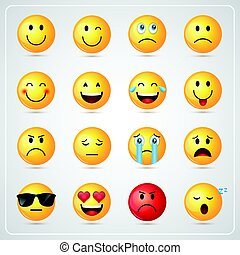 Yellow Smiling Cartoon Face People Emotion Icon Set - Yellow...