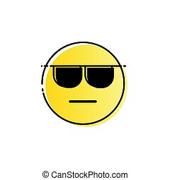 Yellow Smiling Cartoon Face Wear Sunglasses People Emotion Icon