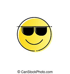 Yellow Smiling Cartoon Face Wear Sunglasses Positive People Emotion Icon