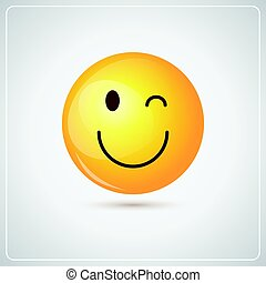 Yellow Smiling Cartoon Face Winking People Emotion Icon