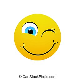 Yellow Smiling Cartoon Face Winking Positive People Emotion Icon