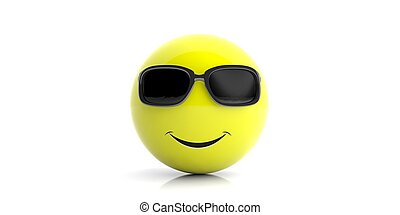 Yellow smiling emoji with sunglasses on white background. 3d illustration