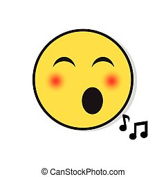 Yellow Smiling Face Singing Positive People Emotion Icon...