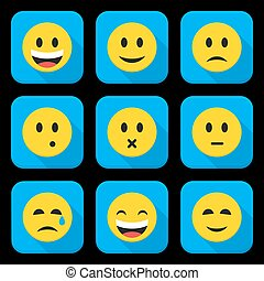 Yellow Smiling Faces Squared App Icon Set