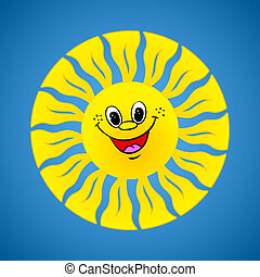 Yellow smiling sun on summer background