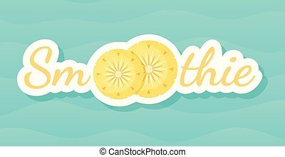 Yellow smoothie pineapple cocktail label banner