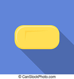 Yellow soap icon, flat style