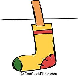 Yellow sock icon cartoon