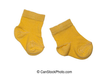 yellow socks on a white background, in studio