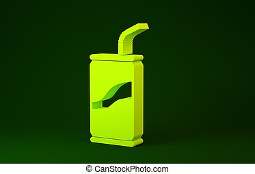Yellow Soda can with drinking straw icon isolated on green background. Minimalism concept. 3d illustration 3D render