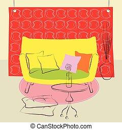 yellow sofa living room