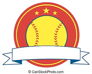 Yellow Softball Logo Design Label