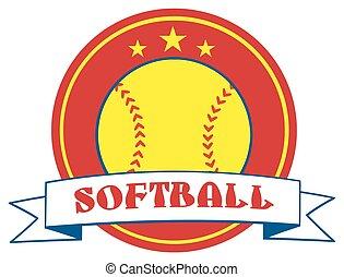 Yellow Softball Logo Design Label