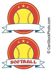 Yellow Softball Logo Design Labels