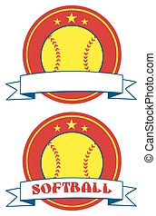 Yellow Softball Logo Design Labels