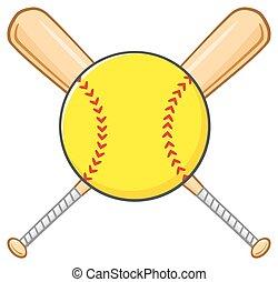 Yellow Softball Over Crossed Bats
