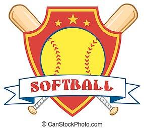 Softball Over Crossed Bats Logo