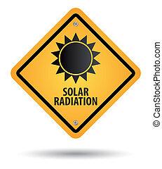 yellow solar radiation sign, danger