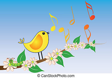 yellow songbird - illustration of yellow bird song