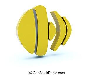 Yellow sound icon isolated on white