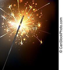 yellow, sparkling sparkler on a black background.