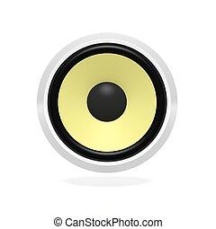 Yellow speaker, isolated on white background.