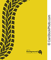 yellow special background with tire track, vector illustration, Eps10