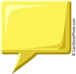 Yellow speech bubble square shape icon