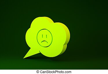 Yellow Speech bubble with sad smile icon isolated on green background. Emoticon face. Minimalism concept. 3d illustration 3D render