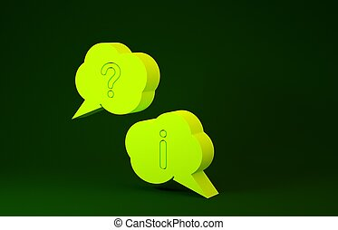 Yellow Speech bubbles with Question and Exclamation icon isolated on green background. FAQ sign. Copy files, chat speech bubble and chart. Minimalism concept. 3d illustration 3D render