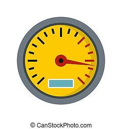 Yellow speedometer icon, flat style
