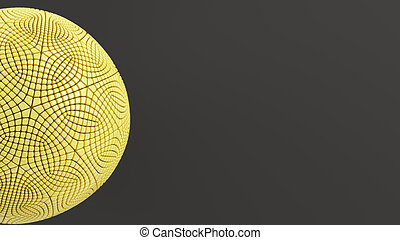 Yellow sphere on the black surface
