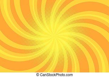 Yellow spiral pop art background