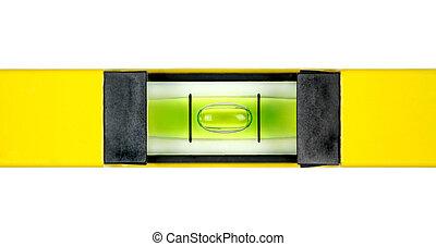 Yellow spirit level. Close up image.