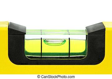 Yellow spirit level , macro image, on white background