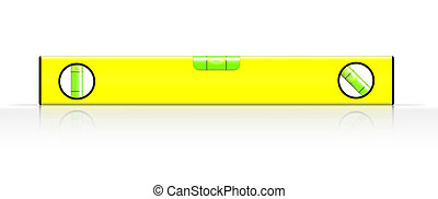 spirit level - yellow spirit level on white background